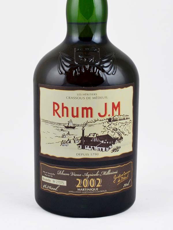 rhum vieux JM martinique 2002 46° etiquette
