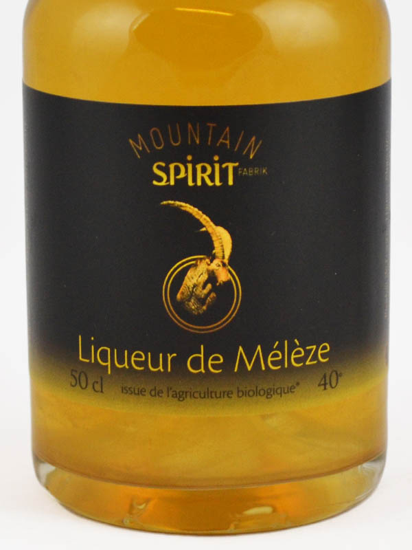 liqueur de meleze BIO mountain spirit etiquette